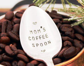 MOM'S COFFEE SPOON ~ Stocking Stuffer, Gift for mom, Stamped Coffee Spoon gift idea for her, under 15, Christmas for her, coffee for mother