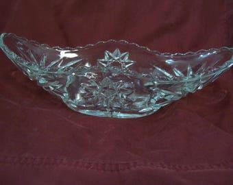 Cut Glass Rectangular Shaped Relish Dish, Bowl #520 Free Shipping D1