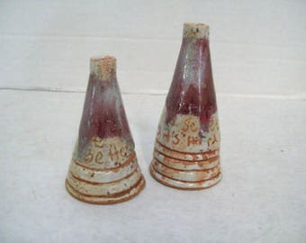 Set of Two Miniature Pottery Stoneware Bud Vases Hand Thrown, Free Shipping J3