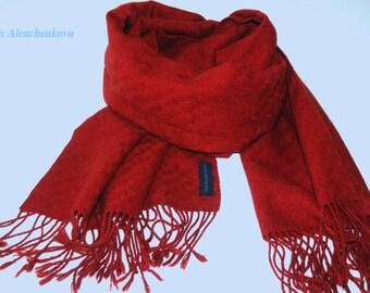 Rouge Cachemire écharpe tissée, des femmes, tissé à la main écharpe automne  hiver, foulard rouge 9c30e689866