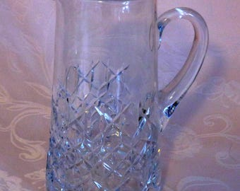Vintage Lead Crystal Cut Glass Opera Water Pitcher - Mid-Century