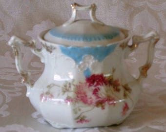 Vintage Weimar Germany Hand Painted Porcelain Sugar Bowl with Cover and Gold Trim