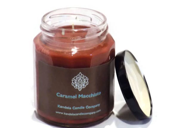 New! Caramel Macchiato Scented Candle in Twelve Sided Candle