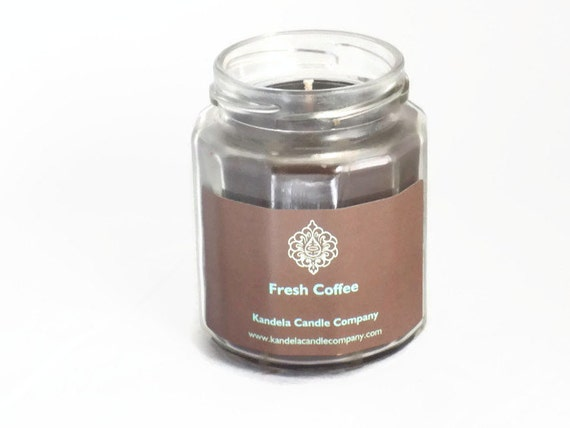 New! Fresh Coffee Scented Candle in Twelve Sided Jar