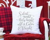 Silent Night Christmas Pillow, Farmhouse Christmas Decor, Holiday Decor Christmas Cushion covers, Farmhouse Style Christmas Pillow Covers