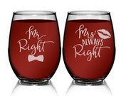 Mr Right Mrs Always Right, Mr and Mrs Wine Glasses Wedding Gifts for Couple, Newlyweds Gift, Wedding Anniversary Gift, Wedding Gift