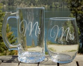 Set of personalized glasses, Personalized Wedding Gift, Set of etched Glasses, Gift For Couple, Unique Wedding Gift, mr and mrs glasses