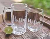 Hubby Wifey Beer & Wine Glass Set, Newlywed Gift, Wedding Gift for Couple, Fun Anniversary Gift, Wedding Glasses, His and Hers