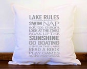Lake Rules Pillow Cover Lake House Decor Lake Life at the Lake Cabin Decor Country Home Decor Rustic Home Decor Pillow