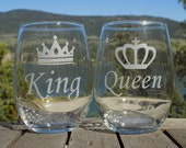 Queen King Couple Etched ...