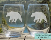 Cabin Decor Bear Stemless Glasses Etched Wine Glasses Rustic Home Decor Cottage Decor County Life Gift for Animal Lover Gift Mountain Life