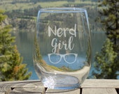 Nerd Girl Wine Glass, Fun...