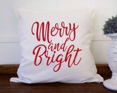 Merry and Bright Farmhouse Christmas Pillow Cover, Holiday Pillow, Farmhouse Style Christmas Cushion, Holiday Decor Throw Pillow Cover 20x20