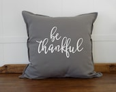 Be Thankful 20x20 Decorative Pillow Covers, Thanksgiving Decor Throw Pillow Covers, Fixer Upper Magnolia Market Style Cushion Cover,