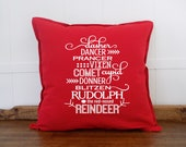 Reindeer Names Farmhouse Christmas Pillow Cover, Farmhouse Christmas Decoration, Modern Farmhouse Style Christmas Decor, Christmas Cushion