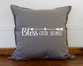 Bless Our Home Decorative Pillows for Couch, Couch Pillows, Couch Pillow Cover, Living Room Decor Throw Pillow, Cushion Cover, UD0718