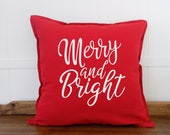 Modern Farmhouse Christmas Pillow Cover, Merry and Bright, Xmas Throw Pillows, Farmhouse Pillows, Country Christmas, Cushion Covers 20x20