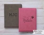 Personalized Passport Holder Travel Wallet for Women, Passport Cover Personalized Gift for her, Boarding Pass Holder, Faux Leather