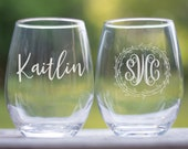 Personalized Wine Glasses, Etched Wine Glasses Personalized Stemless Glasses, Monogram Wine Glass