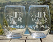 Etched wine glasses, Coun...