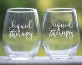 Liquid Therapy Funny Wine Glass, Large Stemless Wine Glass, Funny Birthday Gift for Women, Fun Wine Glasses with sayings, Wine Gift