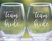 Team Bride Glasses, Bridesmaid Glasses Set of 2, Bachelorette Party Favors, Hen Party Glasses, Bridal Party Glasses, Bridal Shower Gifts