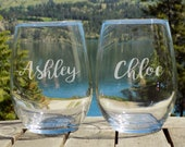 Custom Wine Glasses, Personalized Wine Glasses, Stemless Wine Glasses Personalized Stemless Glasses, Engraved Wine Glasses Set of 2