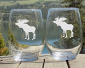 Moose Stemless Glasses Set of 2, Rustic Decor Engraved Wine Glass,  Moose Decor, Moose Birthday Gift for Friend, Thank You Gift