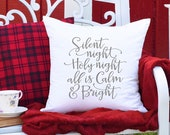 Silent Night Christmas Pillow, Farmhouse Christmas Decor, Holiday Decor Christmas Cushion covers, Farmhouse Style Christmas Pillow Covers