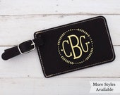 Monogram Luggage Tag, Luggage Tags Personalized Name, Custom Initial Luggage Tag Faux Leather, Personalized Initials Monogram Gift