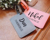Christmas Gift for Couple, His and Her Luggage Tags Personalized, Destination Wedding Gift for Honeymoon Luggage Tags