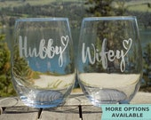Newlywed Gift for Wedding, Unique Wedding Gift for Couple, Gift for Newlyweds, Wedding Glasses for Couple, Etched Stemless Wine Glasses Set