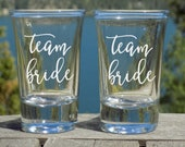 Team Bride Shot Glasses Set of 4, Bridal Shower Gifts for Guests, Wedding Favors for Guests, Wedding Party Gifts, Bridal Shower Favors,