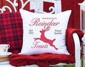 Reindeer Treats Christmas Pillow Cover, Reindeer Decoration, Ruldolph, Christmas Holiday Decor, Farmhouse Christmas Decor, Xmas Decoration