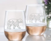 Mama Bear Stemless Wine Glass for Mom, Mom Gift from Daughter, Mom Birthday Gift from Son, Set of 2 Etched Wine Glasses Christmas Gift