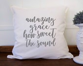 Amazing Grace Cushion Cover, Farmhouse Pillow, Farmhouse Pillow Covers 20x20, White Modern Farmhouse Scripture  Decorative Pillows, Kw0718