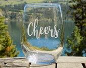 Cheers Wine Glass Engagem...