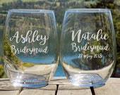 Personalized Bridal Party Favors, Personalized Bridesmaid Glasses, Personalised gifts for bridal party, personalised stemless glass,G