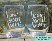 Realtor Gift, New House gift, Home sweet home Glasses, Realtor Closing Gift for New Home, Housewarming Gift for couple, Set of 2 Glasses