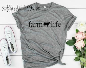 4dbc840b1a Farm Life Shirt - Cow Shirt - Womens Fashion - Womans Graphic Tee - Ladies  Shirt - Country Shirt - Farm Life Shirt - Farmers Wife