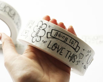 Yay Happy Mail Fun Graphic Packaging White Kraft Tape / Recyclable / 37.5mm x 50m Unique Self-Adhesive Tape Small Business Packaging