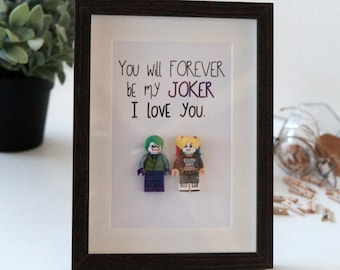 Personalised Harley Quinn and Joker Gifts / lego frame / Wedding Anniversary Valentine gift Fun Boyfriend Husband Suicide Squad Gift Present
