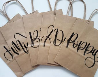 Hen Party Weekend Gift Bags Bride Bridesmaids Wedding Kraft Brown Paper Bag Handlettered Personalised Party Favour Bag