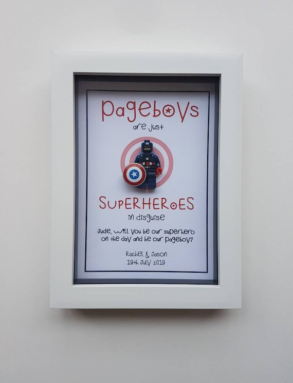 PAGE BOY thank you gift PERSONALISED Superhero MARVEL inspired Framed Gift