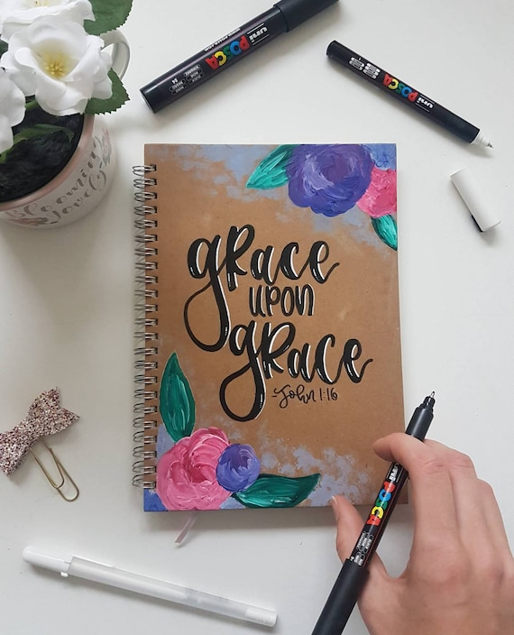 Personalised Bible Verse Handpainted Floral Kraft Notebook
