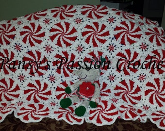 Hand Crocheted  Peppermints Blanket