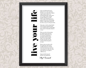 Live Your Life by Chief Tecumseh (2 sizes: A4 and A3)