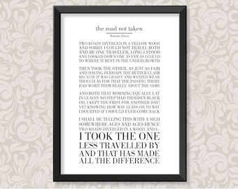 The Road Not Taken by Robert Frost (print in 5 colourways and 2 sizes: A4 and A3)