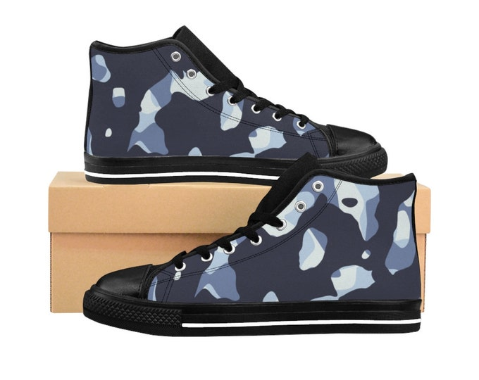 Blue camouflage: Mens HighTop Sneakers