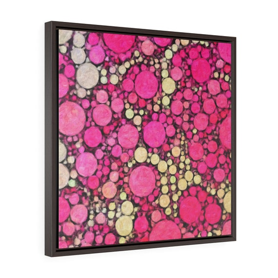 Pink Circles: Premium framed canvas print